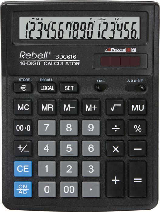 Calculator pentru birou, 16 digits, 193 x 143 x 38 mm, Rebell BDC 616 - negru 0