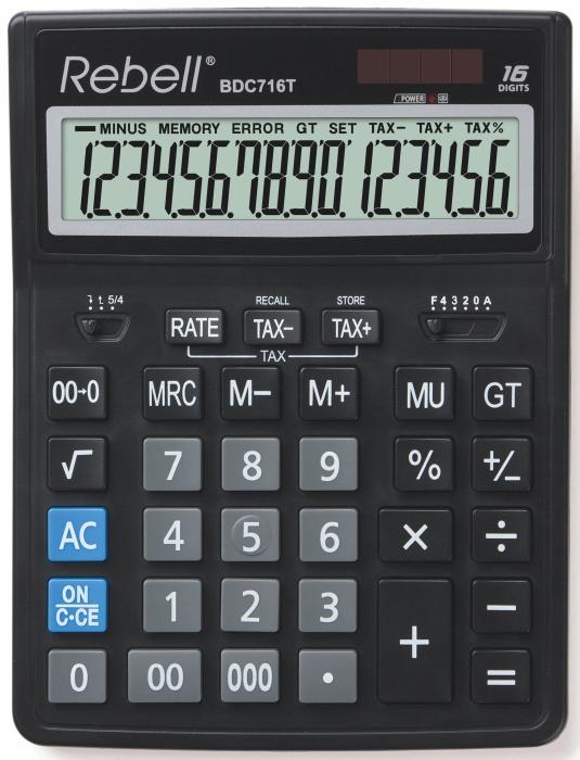 Calculator pentru birou, 16 digits, 206 x 155 x 35 mm, dual power, Rebell BDC 716T - negru [0]