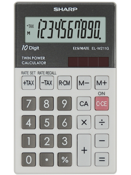 Calculator de buzunar, 10 digits, 117 x 70 x 8 mm, dual power, SHARP EL-W211GGY - gri 0