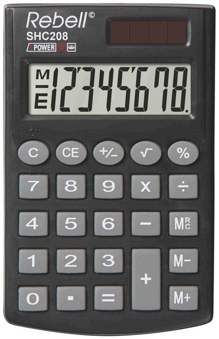Calculator de buzunar, 8 digits, 100 x 62 x 8 mm, capac din plastic, Rebell SHC208 0