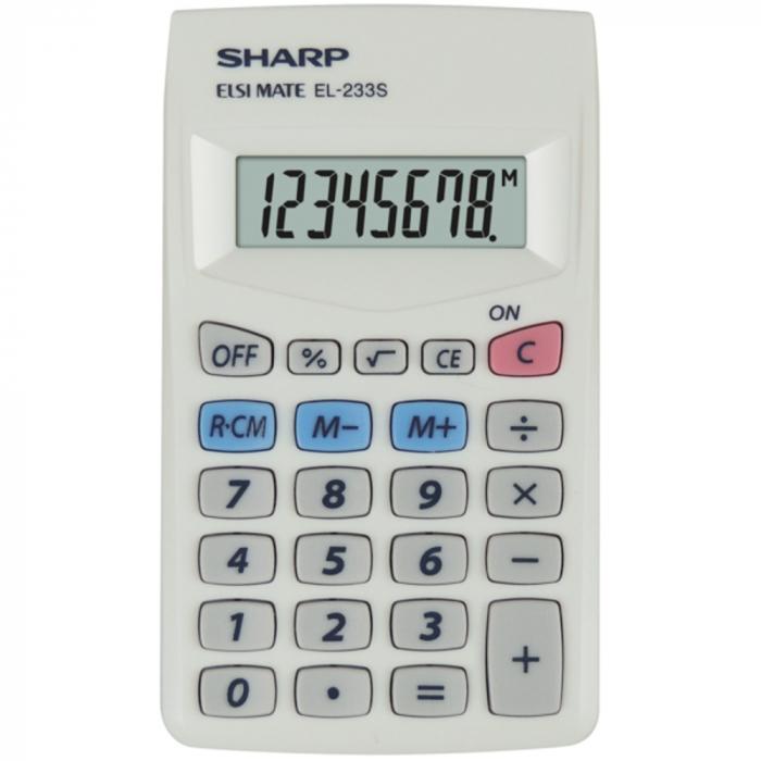 Calculator pentru buzunar, 8 digits, 103 x 60 x 8 mm, SHARP EL-233S - alb [0]