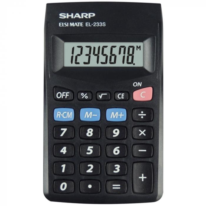 Calculator pentru buzunar, 8 digits, 103 x 60 x 8 mm, SHARP EL-233SBBK - negru 0