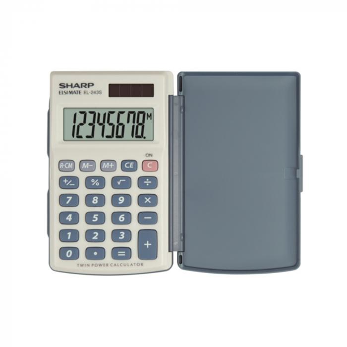 Calculator de buzunar, 8 digits, 105 x 64 x 11 mm, dual power, capac plastic, SHARP EL-243S - gri [0]