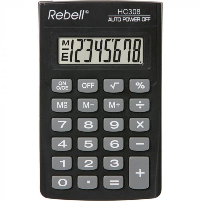 Calculator pentru buzunar, 8 digits, 114 x 69 x 18 mm, Rebell HC308 - negru 0