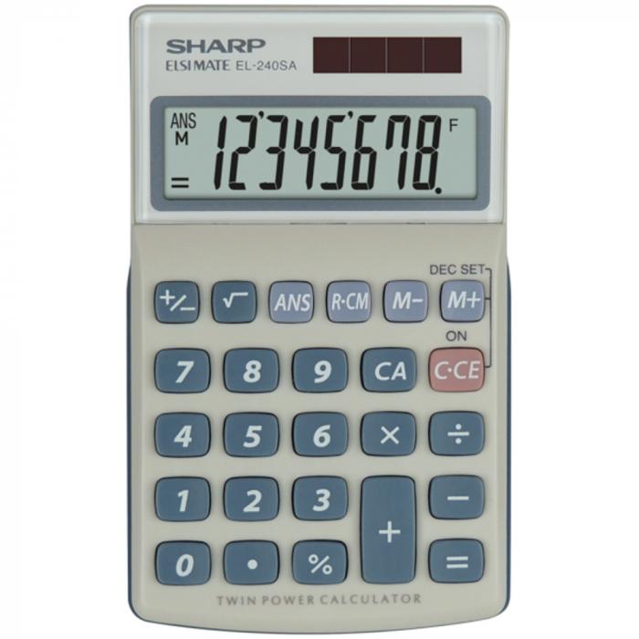 Calculator pentru buzunar, 8 digits, 116 x 71 x 17 mm, dual power, capac plastic, SHARP EL-240SAB - gri [0]