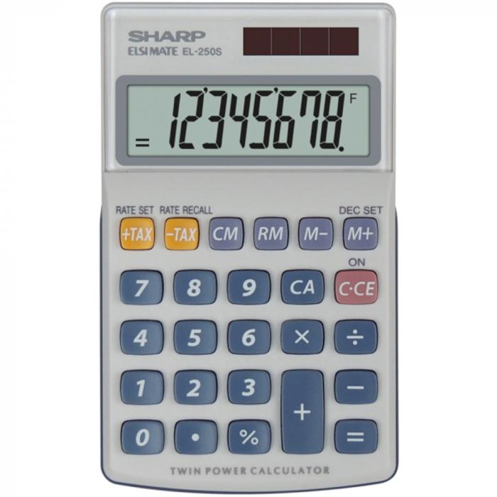 Calculator de buzunar, 8 digits, 116 x 71 x 17 mm, dual power, capac plastic, SHARP EL-250S - gri 0