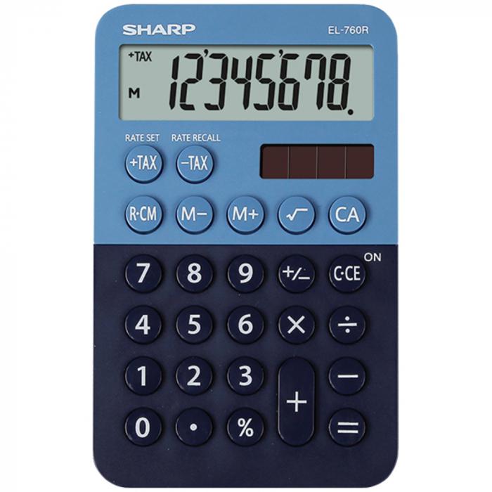 Calculator de buzunar, 8 digits, 120 x 76 x 23 mm, dual power, SHARP EL-760R-BL -albastru/bleumarin 0