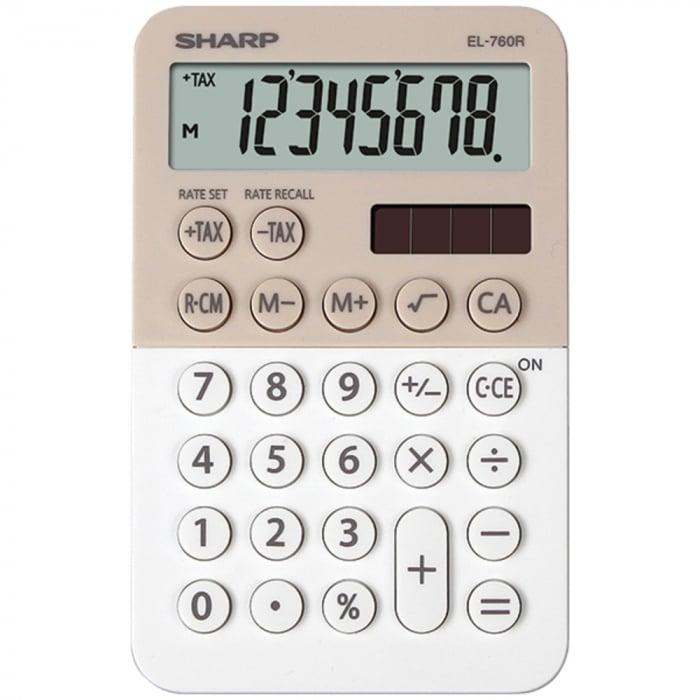 Calculator de buzunar, 8 digits, 120 x 76 x 23 mm, dual power, SHARP EL-760R-LA - bej/alb 0
