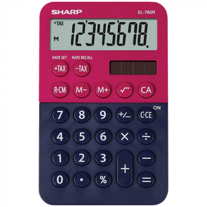 Calculator de buzunar, 8 digits, 120 x 76 x 23 mm, dual power, SHARP EL-760R-RB - rosu/bleumarin 0