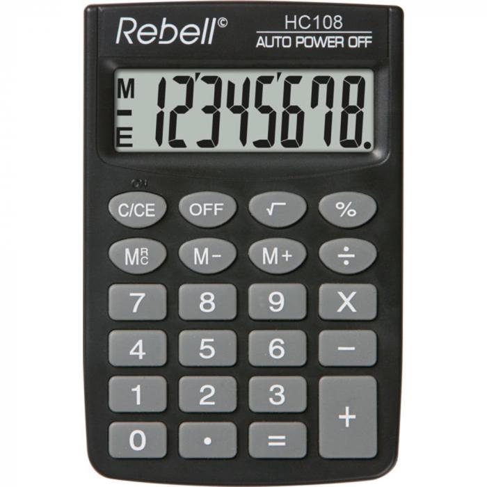 Calculator de buzunar, 8 digits, 88 x 58 x 8 mm, Rebell HC108 - negru [0]