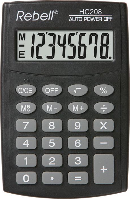 Calculator de buzunar, 8 digits, 98 x 65 x 9 mm, Rebell HC208 - negru [0]