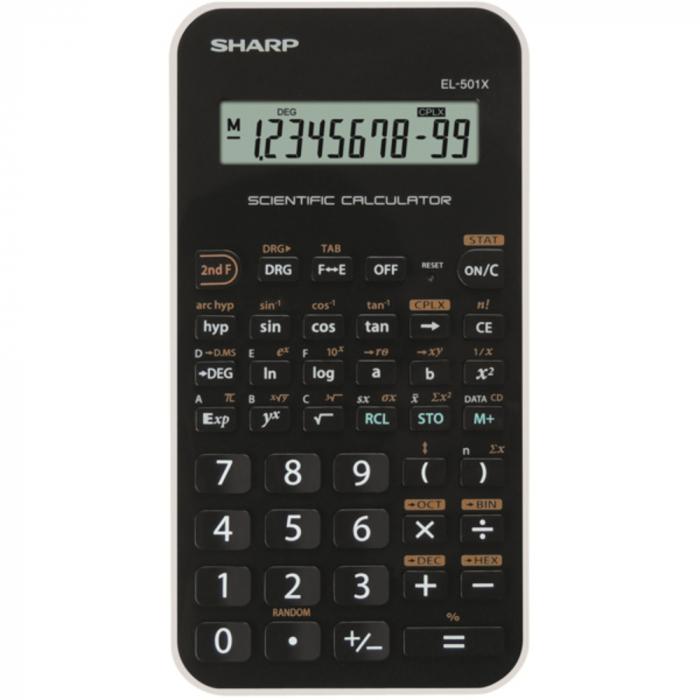 Calculator stiintific, 10 digits, 131 functiuni, 144 x 75 x 10 mm, SHARP EL-501XBWH - negru/alb 0