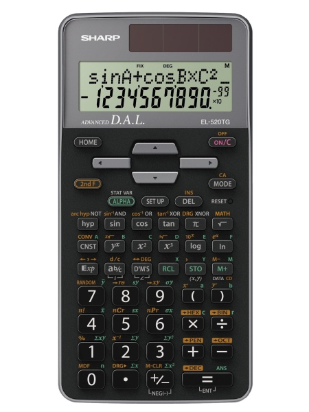 Calculator stiintific, 10 digits, 400+ functiuni, 161x80x15 mm, dual power, SHARP EL-520TGGY - gri 0
