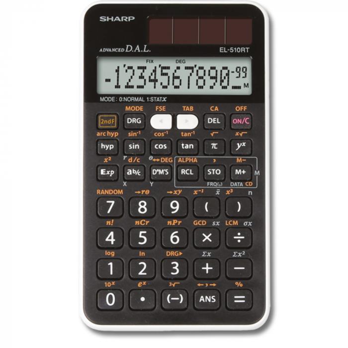 Calculator stiintific, 12 digits, 273 functiuni, 144x75x10 mm, dual power, SHARP EL-510RT - negru [0]