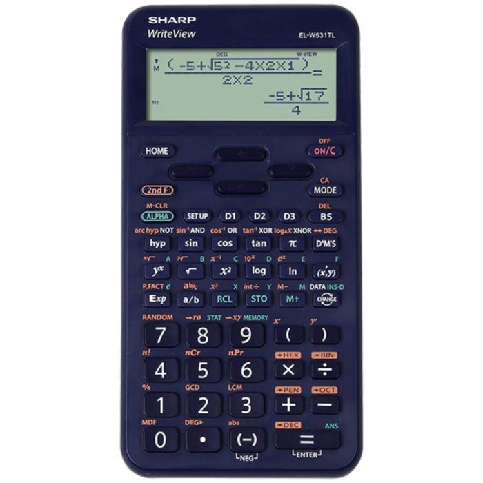 Calculator stiintific, 16 digits, 422 functiuni, 157x78x15 mm, SHARP EL-W531TL - albastru [0]