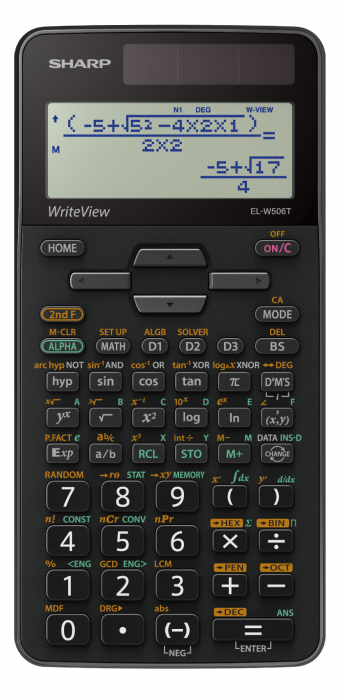 Calculator stiintific, 16 digits, 640 functiuni, 161x80x15 mm, dual power, SHARP EL-W506TSL - argint 0
