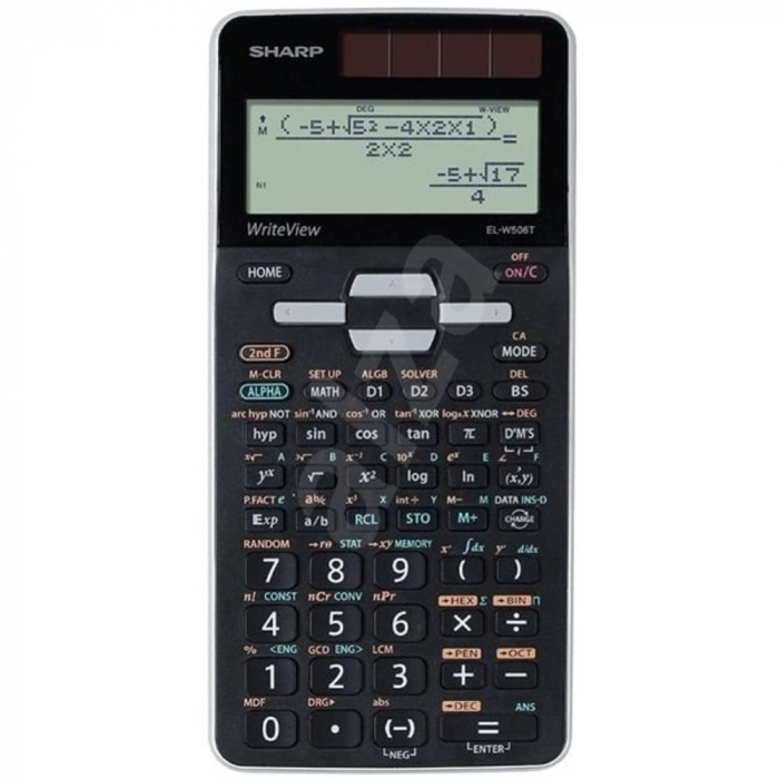 Calculator stiintific, 16 digits, 640 functiuni, 166x80x15 mm, dual power, SHARP EL-W506XSL-negru 0