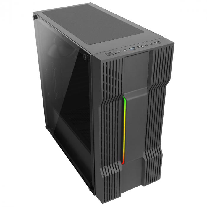 Carcasa ABKONCORE Cronos 610S Black, ATX Mid Tower,LED RGB Strip, neagra [1]