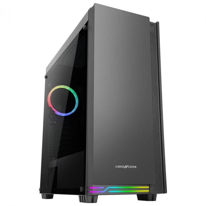 Carcasa ABKONCORE Cronos 710S Black, ATX Mid Tower, panou sticla securizata, LED RGB Strip, RGB fan, fara sursa [0]