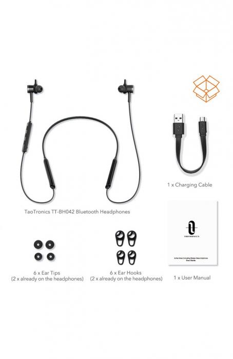 Casti Wireless Bluetooth Neckband TaoTronics TT-BH42, Active Noise Cancelling, Magnetice, Microfon, IPX5, Negru 6