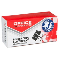 Clip hartie 32mm, 12buc/cutie, Office Products - negru 0