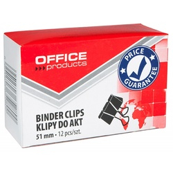 Clip hartie 51mm, 12buc/cutie, Office Products - negru 0