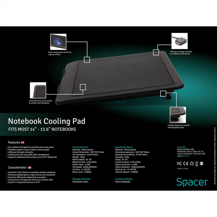 """Cooler Laptop Spacer SP-NC19 15.6"""", Negru 6"""