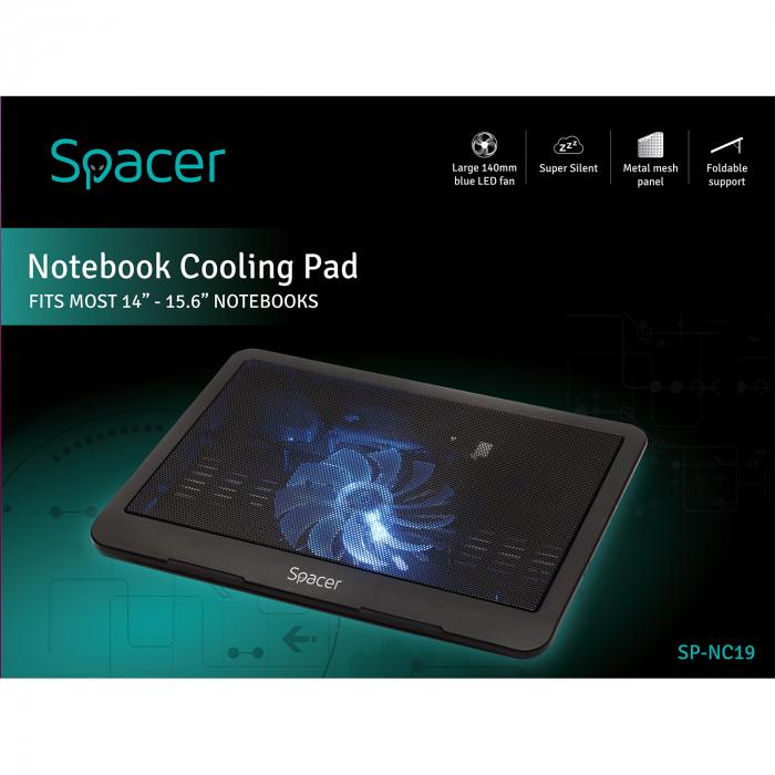 """Cooler Laptop Spacer SP-NC19 15.6"""", Negru 5"""