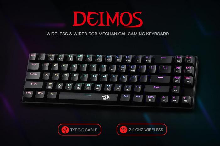 Tastatura Gaming Redragon Deimos, RGB, Mecanica, Red Switch, 2.4G wireless + wired [6]