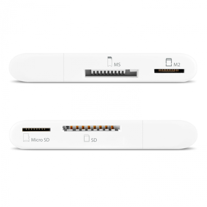 External HANDY Card Reader 4-slot SD/MicroSD/MS/M2, White [10]
