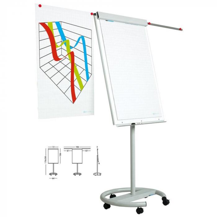 Flipchart magnetic, dimensiuni 105 x 70 cm, SMIT Vario cu brate laterale mobil [0]