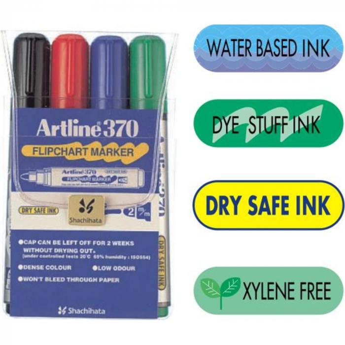 Flipchart marker ARTLINE 370 - Dry safe ink, set [0]