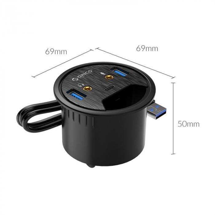HUB USB multifunctional Orico DESK-2U1C negru [4]
