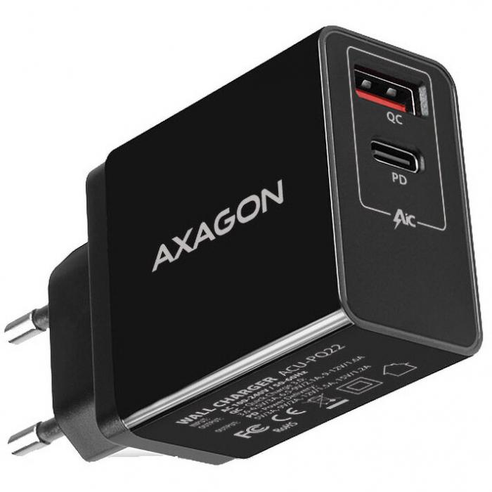 Incarcator retea Axagon Dual USB 5V 3A + 1x Quick Charge3.0, 22W, Negru 0