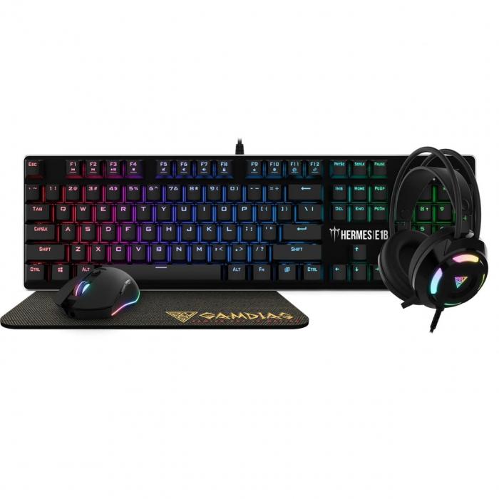 Kit Gaming Gamdias Hermes E1B,tastatura mecanica + Mouse + Casti + Mouse pad 0