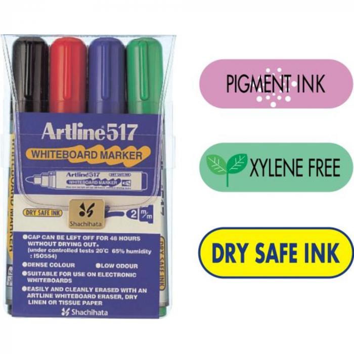 Marker pentru tabla de scris ARTLINE 517 - Dry safe ink, set [0]