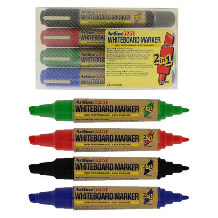 Marker pentru tabla de scris ARTLINE 525T, doua capete - varf rotund 2.0mm/tesit 5.0mm, 4 culori/set [0]