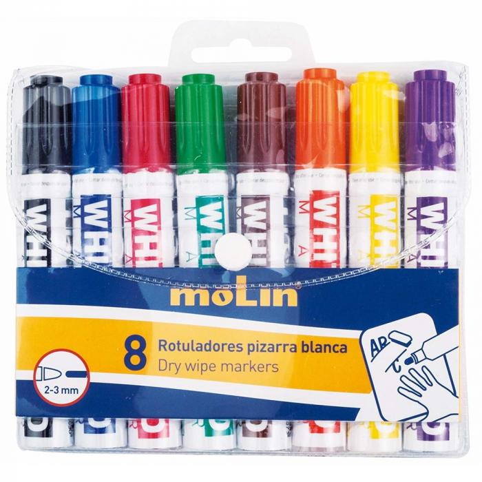 Marker pentru table de scris, varf rotund, corp plastic, 8 culori/set, MOLIN [0]