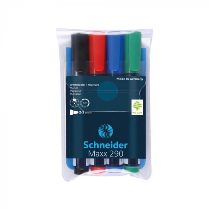 Marker SCHNEIDER Maxx 290, pentru tabla de scris+flipchart, varf rotund 2-3mm, 4 cul/set - (N,R,A,V) [0]