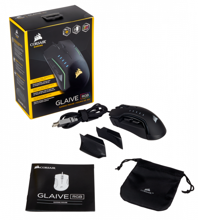 Mouse Corsair GLAIVE gaming RGB LED, 16000 DPI 9