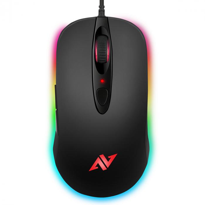 Mouse gaming ABKONCORE A530-3325, 4000DPI, RGB, negru 0