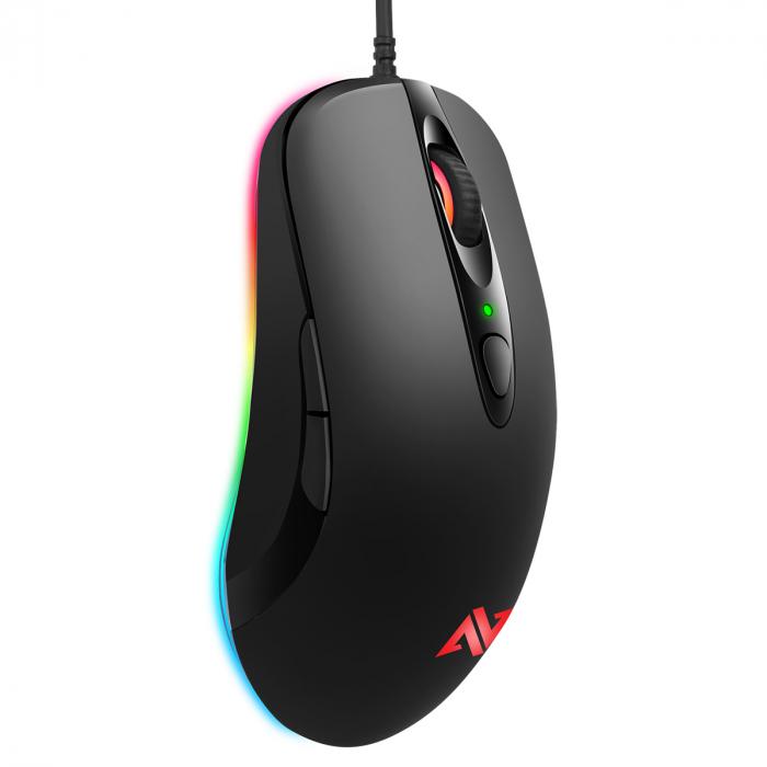 Mouse gaming ABKONCORE A530-3325, 4000DPI, RGB, negru 1