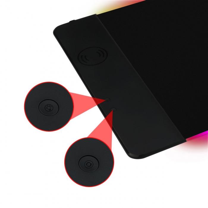 Mousepad gaming Redragon P025 negru iluminare RGB si incarcare wireless [1]