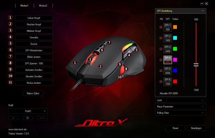 Pachet gaming Inter-Tech, tastatura gaming mecanica Nitrox RGB + mouse gaming Nitrox GT-200 RGB 9