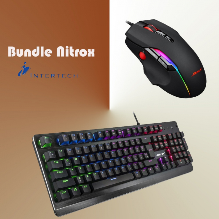 Pachet gaming Inter-Tech, tastatura gaming mecanica Nitrox RGB + mouse gaming Nitrox GT-200 RGB 0