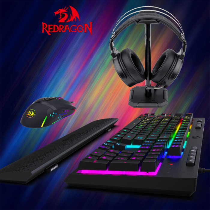 Pachet gaming Redragon, tastatura gaming mecanica Amsa Pro RGB + mouse gaming Octopus RGB + casti gaming Lamia iluminare RGB 0