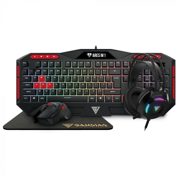 Pachet gaming, Scaun gaming Spacer + Kit gaming Gamdias Poseidon M2 iluminare RGB 5