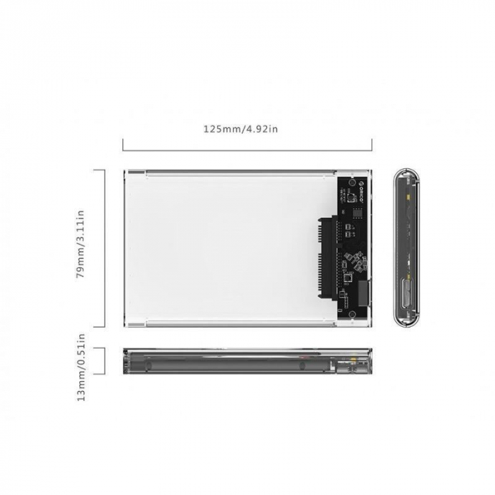 Rack HDD Orico 2139U3 2.5 inch transparent 1