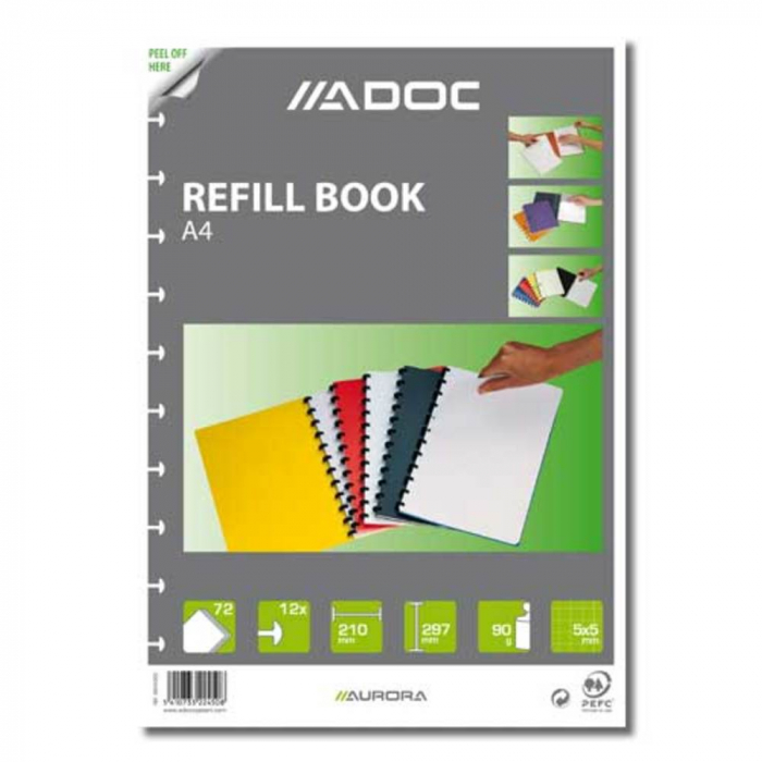 Rezerva caiet A4, 72 file - 90g/mp, AURORA Adoc - matematica [0]