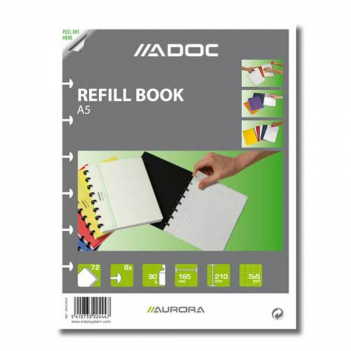Rezerva caiet A5, 72 file - 90g/mp, AURORA Adoc - matematica 0